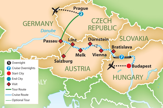 Danube River Cruise Map Blue Danube River Cruise