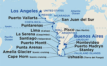 Princess Cruises Emerald Princess Night Andes Cape Horn - Argentina cape horn map
