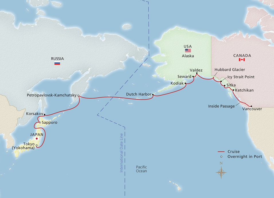 Viking cruises viking orion north pacific passage tokyo to click to enlarge map gumiabroncs Images