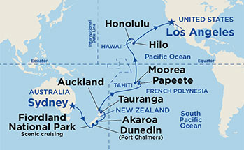Low unpublished prices on princess 27 night hawaii tahiti south pacific crossing map thumbnail click to enlarge map gumiabroncs Choice Image