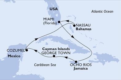 Seaside Florida Map.Msc Cruises Msc Seaside 7 Night Caribbean Sat Apr 06 2019