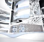 Glass-walled Double Deck Atrium