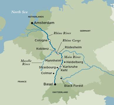 Crystal River Cruises Crystal Debussy Legendary Rhine Basel - Netherlands rivers map