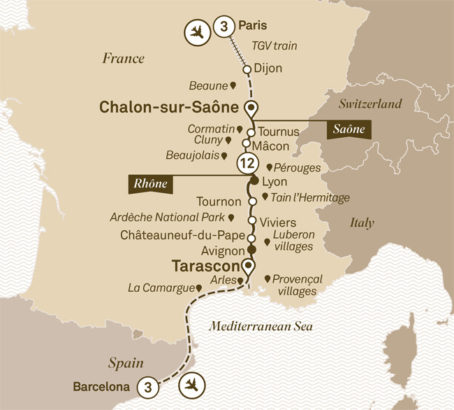 Macon France Map.Scenic River Cruises Scenic Sapphire Spectacular South Of France