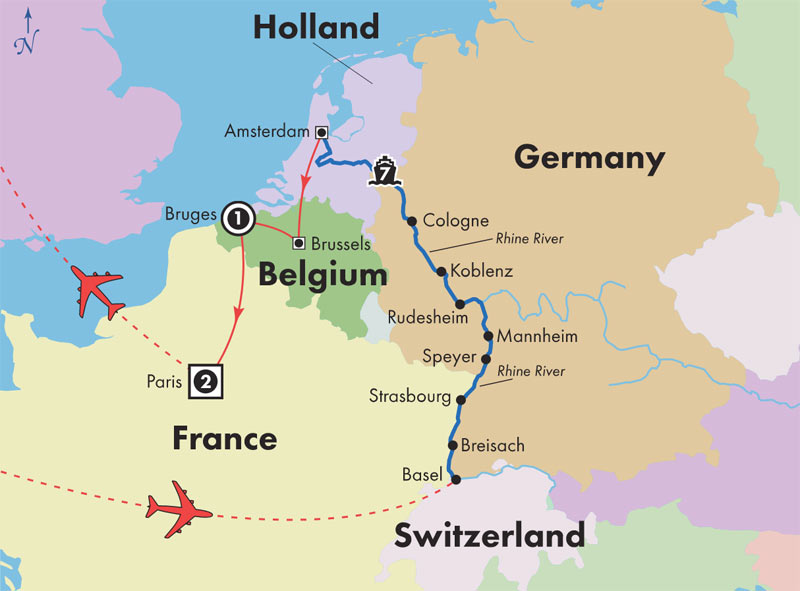 Bruges France Map.Gate1 River Cruises Monarch Countess 12 Day Rhine River Cruise