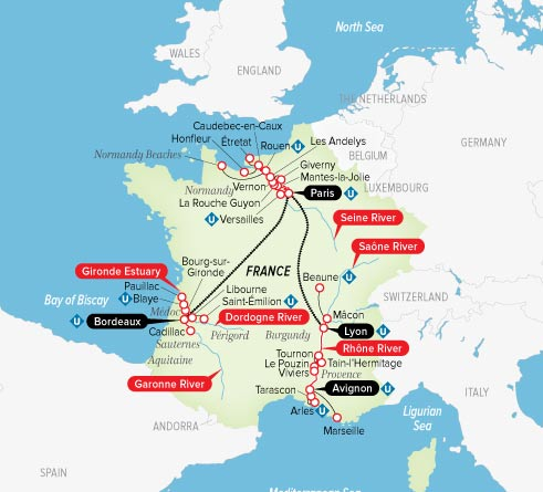 Macon France Map.Uniworld River Cruises Ss Bon Voyage Ultimate France Bordeaux