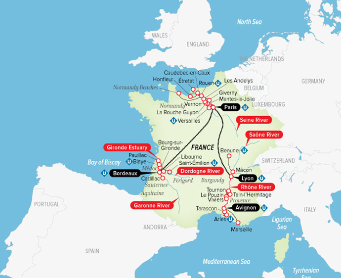 Map Of France Giverny.Low Unpublished Prices On Uniworld Ultimate France Avignon To Bordeaux 2020