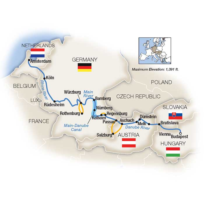budapest to amsterdam river cruise map Budapest To Amsterdam By Riverboat Northbound 2020 Sep 19 budapest to amsterdam river cruise map
