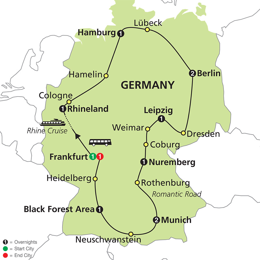 Cosmos Tours Highlights Of Germany - Germany map romantic road