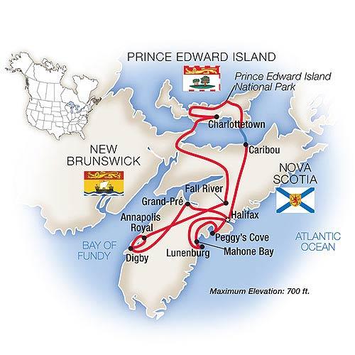Tauck Tours Nova Scotia Prince Edward Island - Us navy map mahone bay ns
