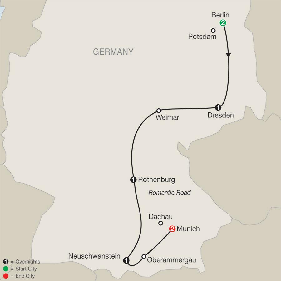 Globus Tours German Vista - Germany map romantic road