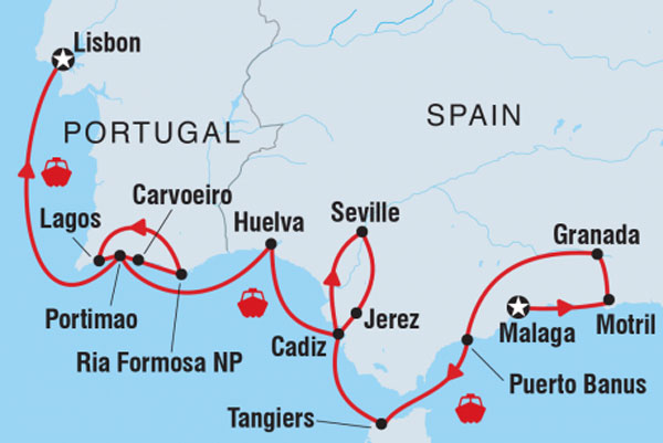 Detailed Map Of Spain Portugal And Morocco.Intrepid Tours Cruising Spain Portugal And Morocco Lisbon To Malaga