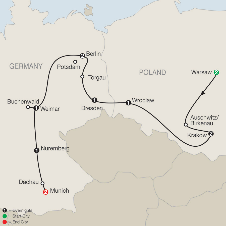 Globus tours poland east germany world war ii 2018 click to enlarge map gumiabroncs Images