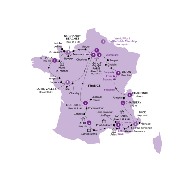 Insight vacations tours french heritage summer 2018 click to enlarge map gumiabroncs Gallery