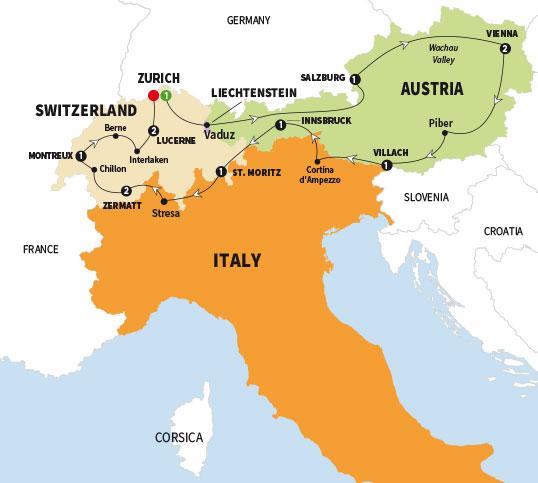 Trafalgar tours switzerland and austria summer 2018 click to enlarge map gumiabroncs Images