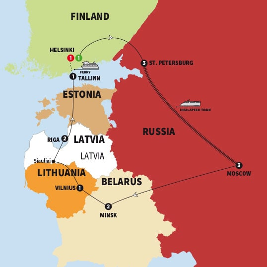 Trafalgar tours best of finland russia and the baltic states summer click to enlarge map gumiabroncs Gallery