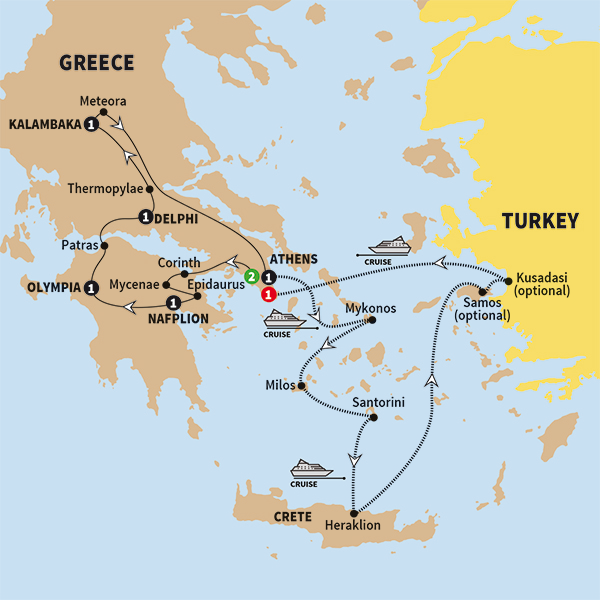 Trafalgar Tours Best of Greece with 7 Day Aegean Cruise Premier