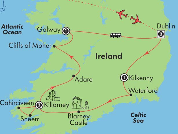 Adare Castle Ireland Map.Gate1 Tours 9 Day Affordable Ireland Saturday Departure