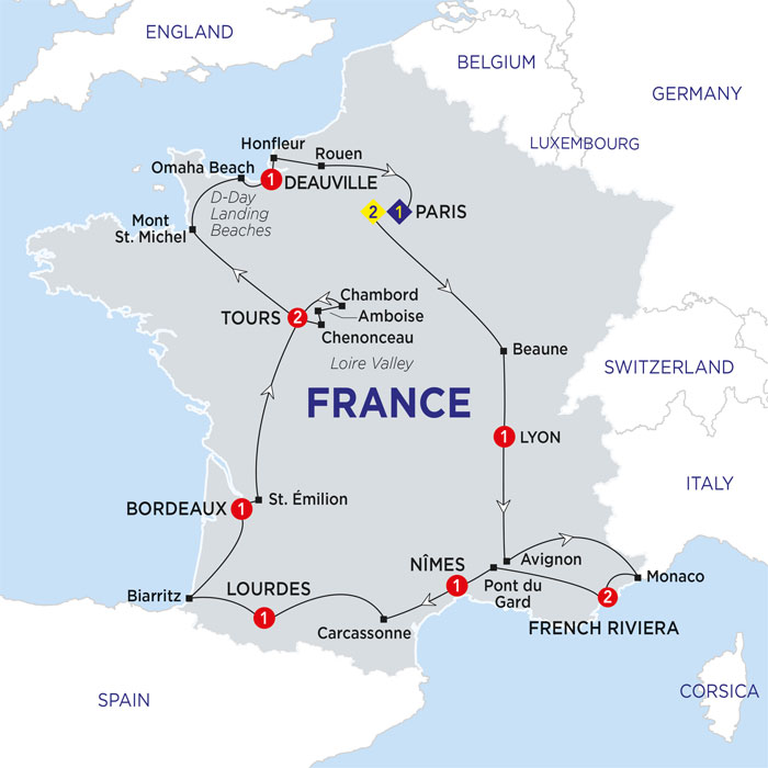 Amboise France Map.Costsaver By Trafalgar Tours Highlights Of France Summer 2018