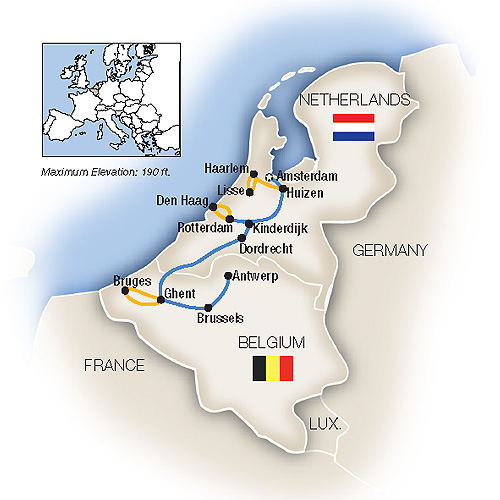 Map Of France And Holland Belgium.Tauck Tours Holland Belgium In Spring Southbound 2019