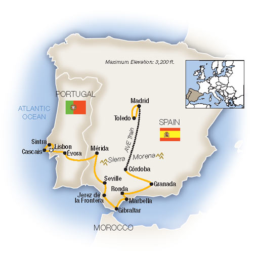 Map Of Spain Morocco And Portugal.Low Unpublished Prices On Tauck Spain And Portugal 2019