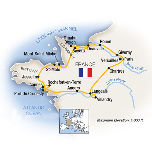 Map Of France Giverny.Tauck Tours Normandy Brittany Paris The Loire Valley 2019