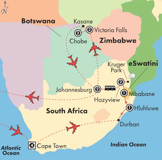 Map Of Africa Victoria Falls.Low Unpublished Prices On Gate1 16 Day Classic South Africa With Victoria Falls Botswana Wednesday Departure