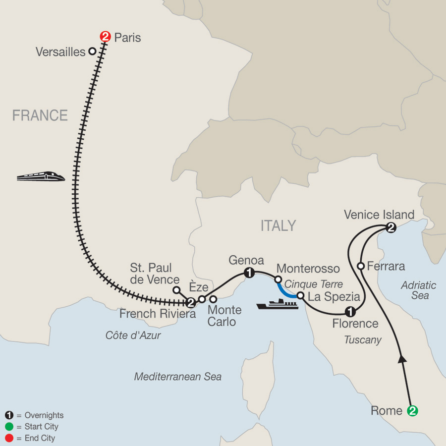 Map Of France To Italy.Low Unpublished Prices On Globus The Best Of Italy France 2019