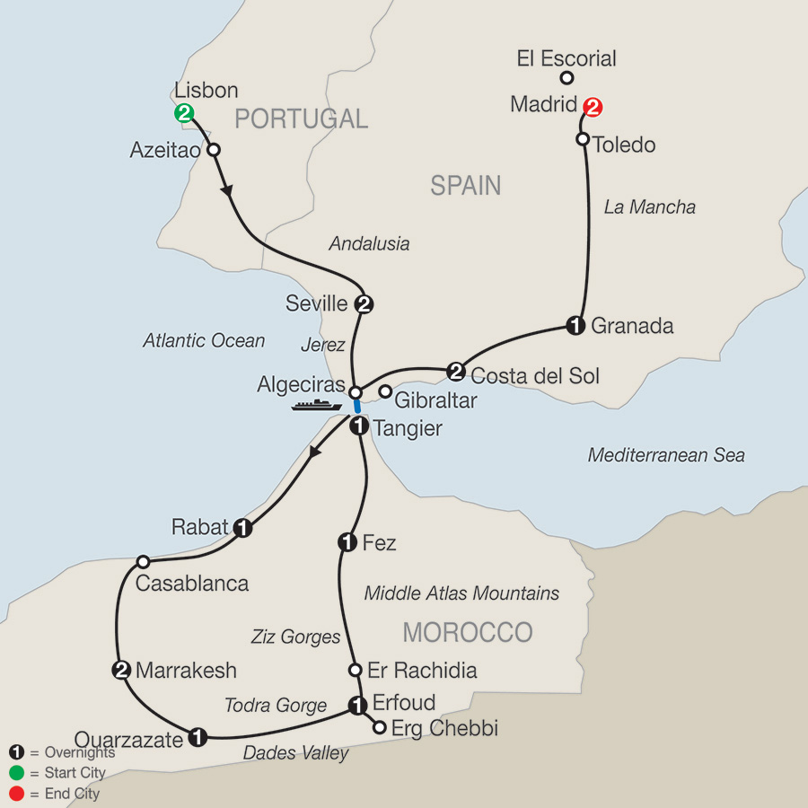 Detailed Map Of Spain Portugal And Morocco.Globus Tours Spain Portugal Morocco 2019
