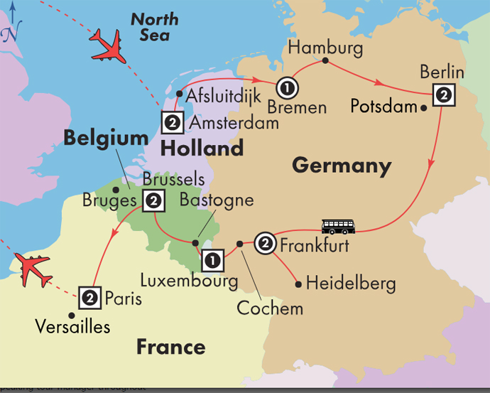 Map Of France And Holland Belgium.Low Unpublished Prices On Gate1 14 Day Holland Germany Luxembourg Belgium With Paris