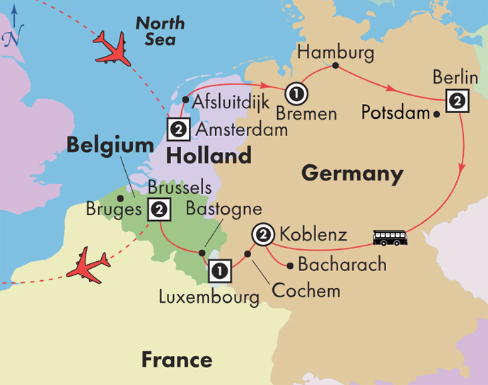 Map Of Germany Luxembourg Belgium.Low Unpublished Prices On Gate1 12 Day Holland Germany Luxembourg Belgium