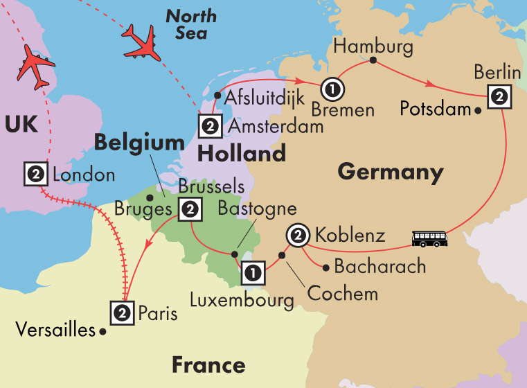 Map Of France Holland And Germany.Low Unpublished Prices On Gate1 16 Day Holland Germany Luxembourg Belgium With Paris London
