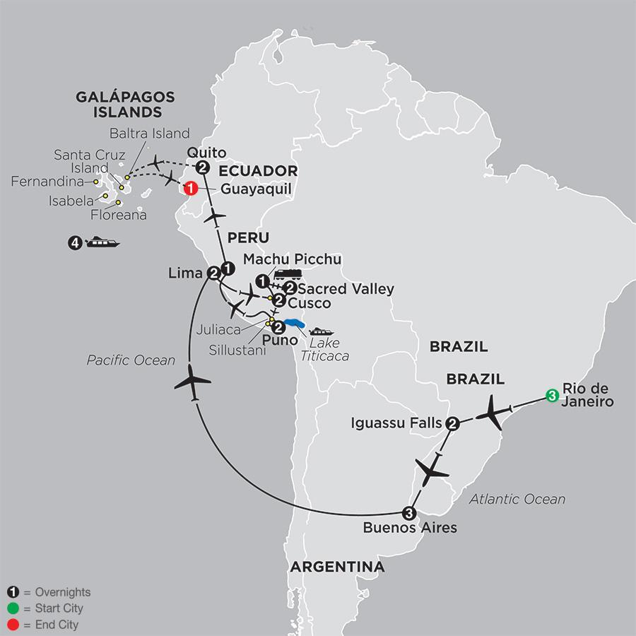 South America Map Galapagos Islands.Cosmos Tours Ultimate South America With Galapagos Cruise 2019