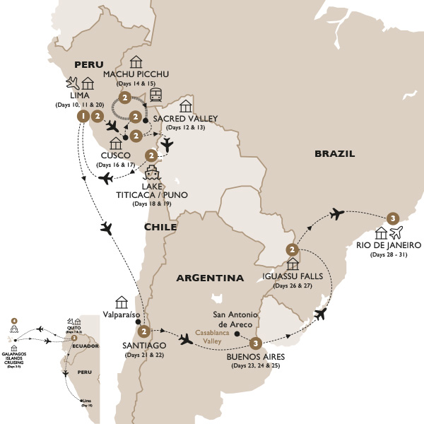 South America Map Galapagos Islands.Luxury Gold Tours Grand South America With Quito And The Galapagos