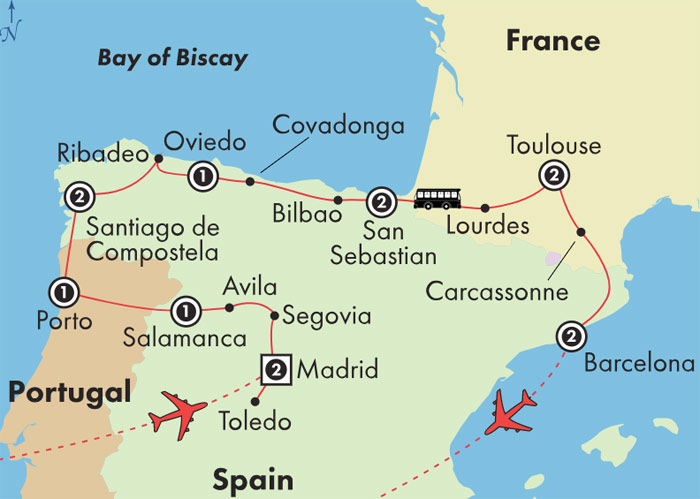 Map Of Spain And Portugal And France.Gate1 Tours 15 Day Northern Spain Portugal France Tuesday
