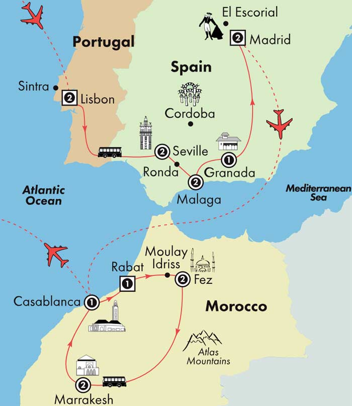 Detailed Map Of Spain Portugal And Morocco.Gate1 Tours 17 Day Portugal Spain Morocco