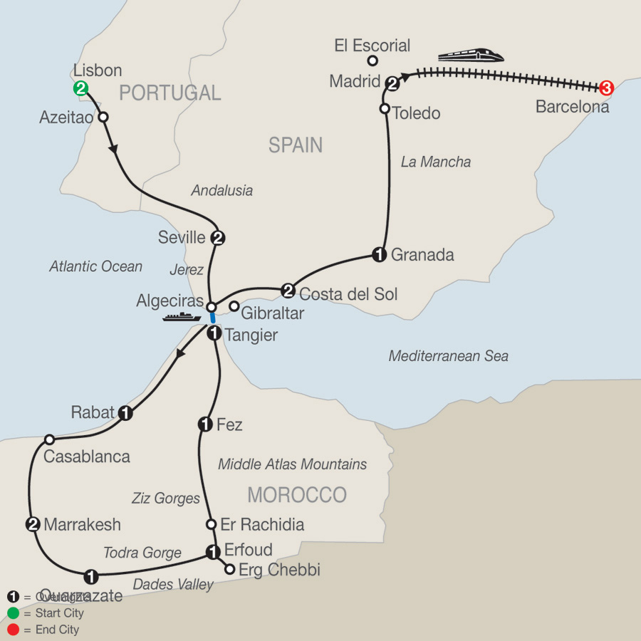 Map Of Spain Portugal And Morocco.Globus Tours Spain Portugal Morocco With Barcelona 2019