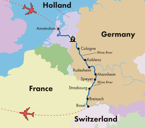 Map Of Germany And Amsterdam.Low Unpublished Prices On Gate1 9 Day Rhine River Cruise Basel To Amsterdam