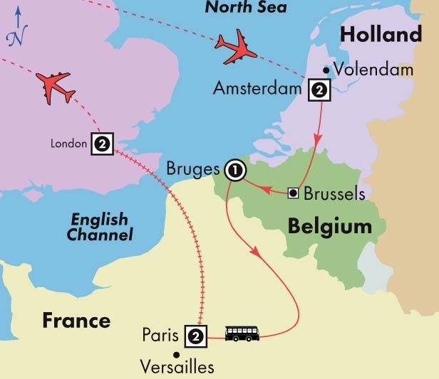 Bruges France Map.Gate1 Tours 9 Day Affordable Amsterdam Bruges Paris London