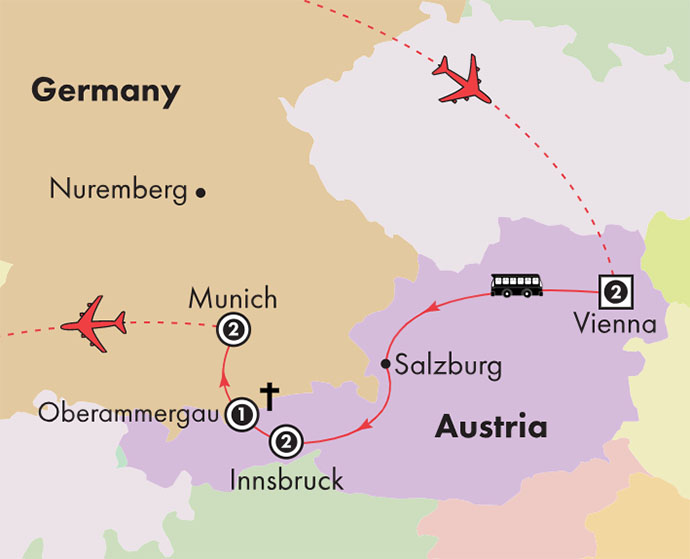 Oberammergau Germany Map.Gate1 Tours 9 Day Oberammergau With Essential Austria Germany