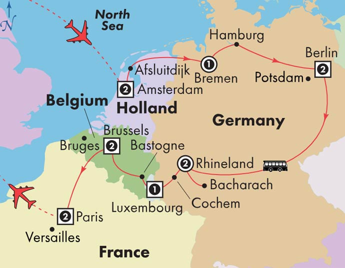 Map Of Germany France And Belgium.Gate1 Tours 14 Day Holland Germany Luxembourg Belgium With Paris
