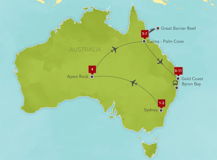 Australia Sydney Ayers Rock Palm Cove Great Barrier Reef Gold Coast