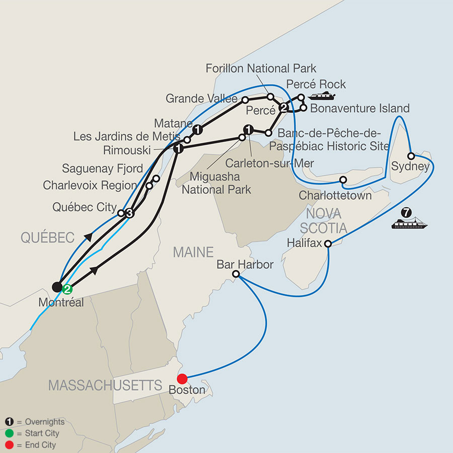 Map Of New England And Quebec.Low Unpublished Prices On Globus Quebec In Depth With The Gaspe Peninsula And Canada New England Discovery Cruise 2020