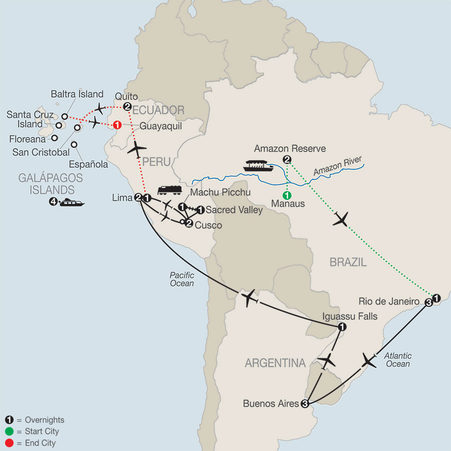 Spirit Of South America With Amazon Galapagos Cruise 2021