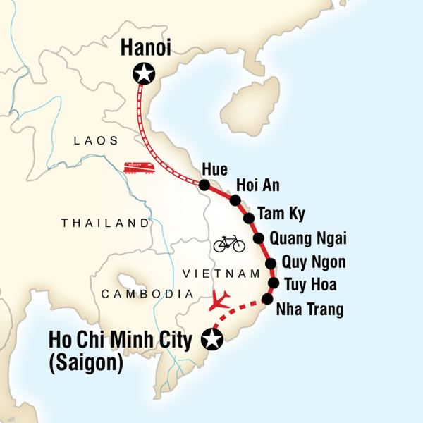Quang Ngai Vietnam Map.G Adventures Tours Cycle Vietnam S Backroads