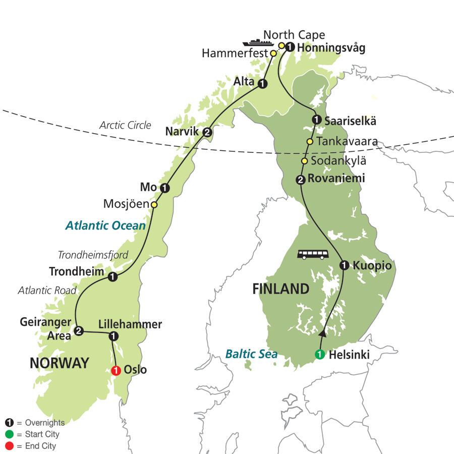 Cosmos Tours Northern Highlights The Arctic Circle - Sweden map arctic circle