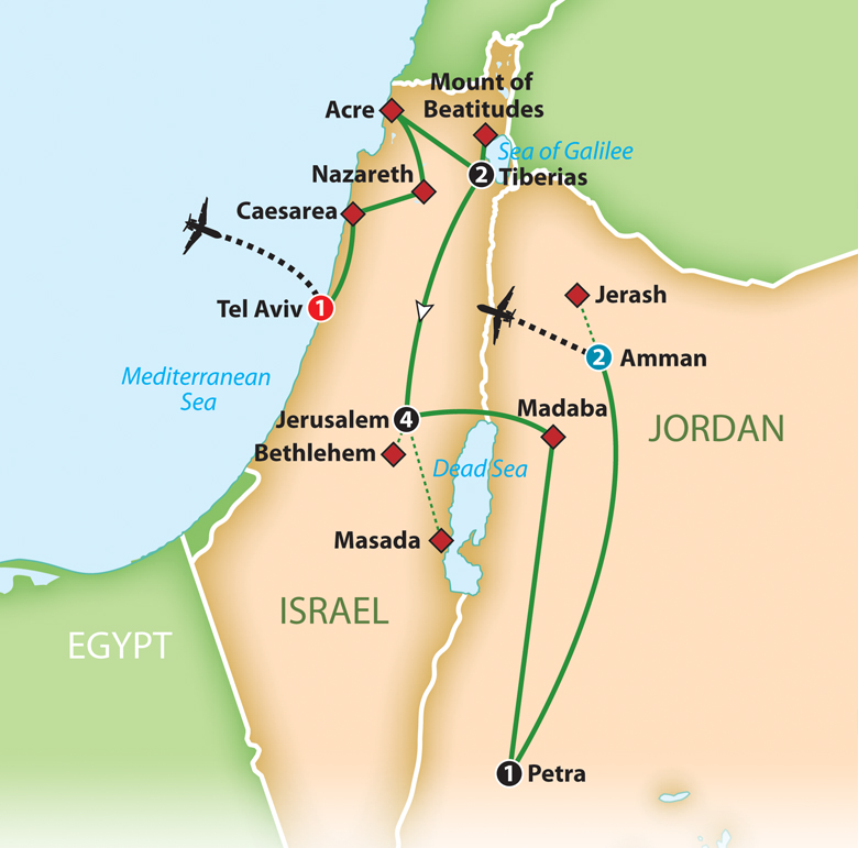 Mayflower Tours Best Of Israel And Jordan - Map of egypt israel jordan