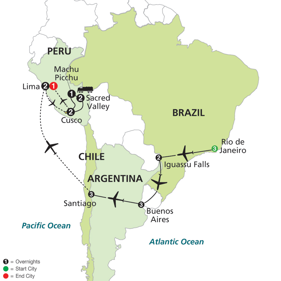 Cosmos Tours Brazil Argentina Chile Unveiled With Peru - Argentina map all cities