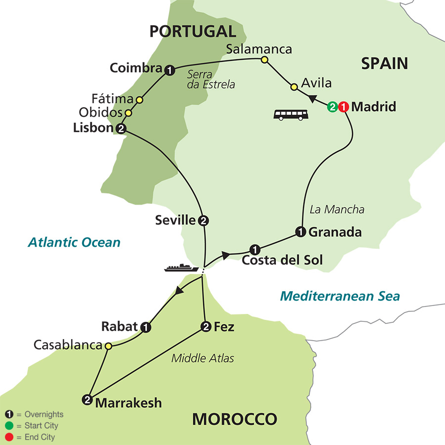 Cosmos Tours Spain Portugal Morocco - Portugal morocco map