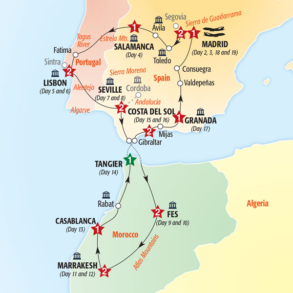 Insight Vacations Tours Treasures Of Spain Portugal Morocco - Portugal morocco map